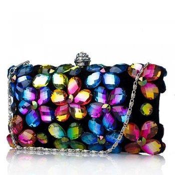 Faye London Crystal Daisy Navy Clutch Evening Bag