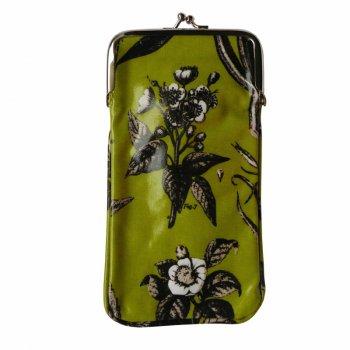 Gisela Graham Lime Green Botanical Print Oilcloth Glasses Case