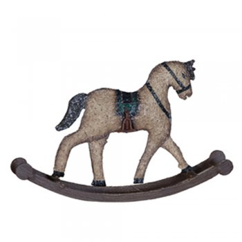 Metal Distressed Finish Rocking Horse Decoration