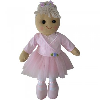 Powell Craft 40cm Blonde Ballerina Rag Doll in a Pink Tutu