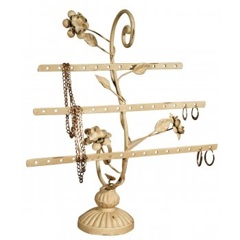 Cream Distressed Finish Earring Jewellery Stand