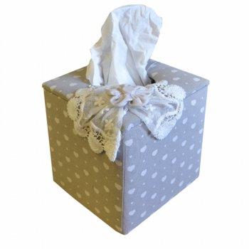 Linen Hearts & Lace Square Tissue Box