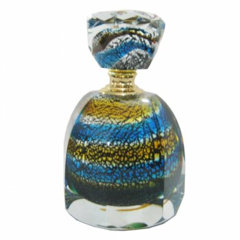 Turquoise, Silver & Gold Swirl Pattern Murano Style Glass Perfume Bottle