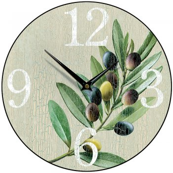 Smith & Taylor Clocks Olive Stone Round Kitchen Wall Clock