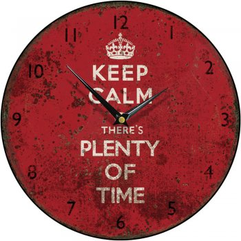 Smith & Taylor Clocks Shabby Chic Keep Calm There's Plenty of Time Round Wall Clock