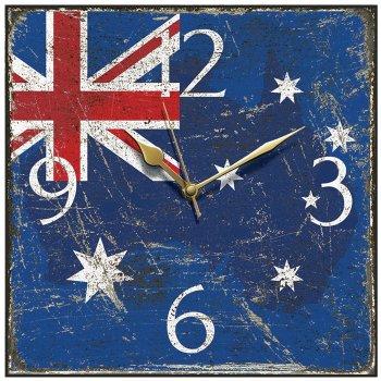 Smith & Taylor Clocks Shabby Chic Australian Flag Square Wall Clock