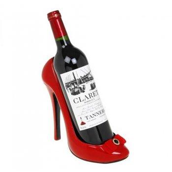 Red Gloss Stiletto Shoe Wine Bottle Holder
