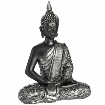 Black & Silver Meditating Buddha Figure in the Lotus Position