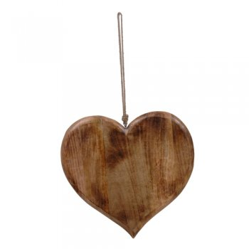 Large Decorative Wooden Hanging Heart with Rope Hanger