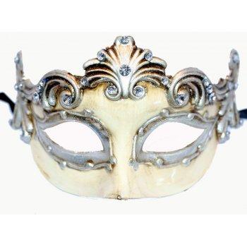 Cream & Silver Roman Style Venetian Masquerade Mask