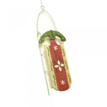 Gisela Graham Resin Alpine Sledge Christmas Tree Decoration