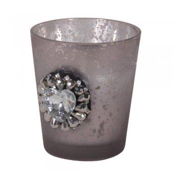Grey Mercury Glass Jewel Candle Cup Tealight Votive Holder