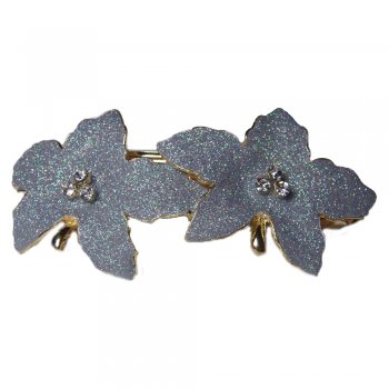 Rosie Fox Two Flower Glittery Silver Hair Barrette