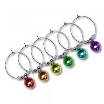 Set of 6 Rainbow Coloured Bauble Bell Wine Glass Charms in Gift Box