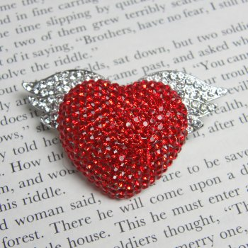 Red Swarovski Crystal Heart with Wings Brooch