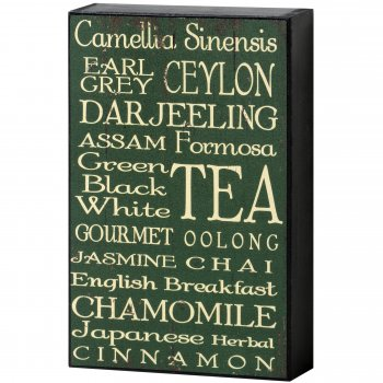 Cool Cafe Style Green & White Tea Shelf Wall Plaque