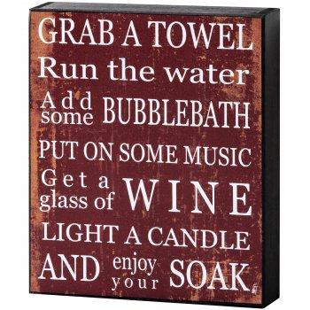 Red & White Grab A Towel Shelf Wall Plaque