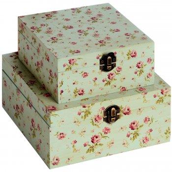 Kidston Style Turquoise Vintage Rose Set of Two Small Wooden Trinket Storage Boxes