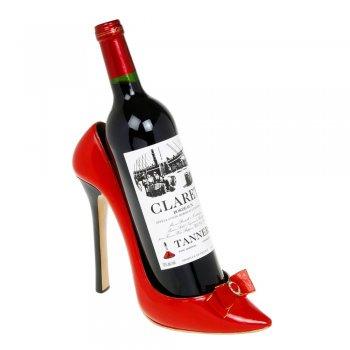 Red Gloss Point Toe Stiletto Shoe Wine Bottle Holder