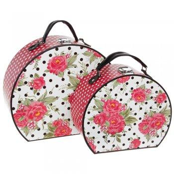 Jessie Steele Set of 2 Jessie Steele Pink Rose Pattern Storage Cases
