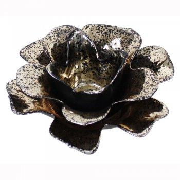 Black Open Daffofil Flower Glass Tealight Holder