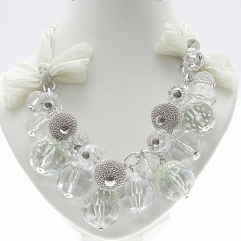 About Face Jewellery Cream Chiffon & Chunky Beads Necklace