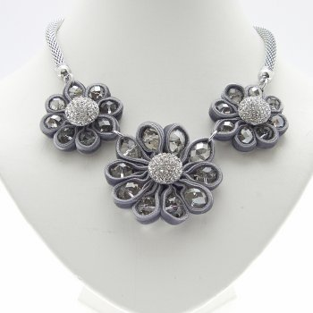 Three Flower Velvet Crystal & Beads Necklace