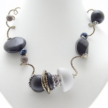 About Face Jewellery Asymmetric Loopy Beads & Crystal Ring Necklace
