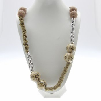 About Face Jewellery Chunky Bead, Rope Knot & Silver Chain Long Necklace