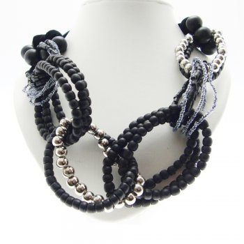 About Face Jewellery Beaded Loops & Black Velvet Necklace