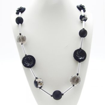 About Face Jewellery Silver Tube Bead & Black Fabric Bead Long Necklace