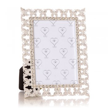 "Junction Eighteen Silver Coloured with Diamante Butterflies Border 5""x 3.5"" Photo Frame"