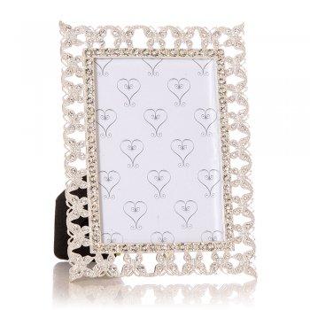 "Junction Eighteen Silver Coloured with Diamante Butterflies Border 5""x 3.5"" Photo Frame"