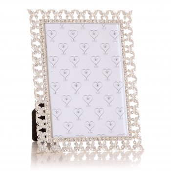 "Junction Eighteen Silver Coloured with Diamante Butterflies Border 7""x 5"" Photo Frame"