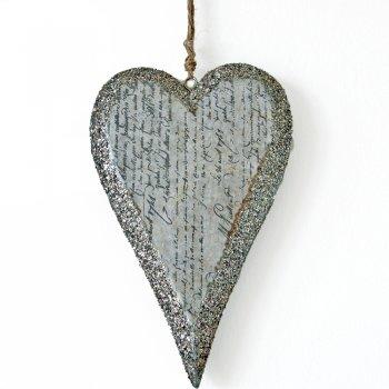 Heaven Sends Calligraphy Script Glittered Hanging Heart Decoration