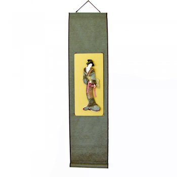Geisha Doll wearing a Kimono in shades of Brown Decorative Wall Hanging