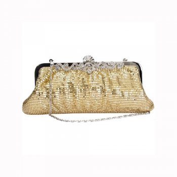 Faye London Gold Chainmail Clutch Evening Bag with Intricate Diamante Clasp