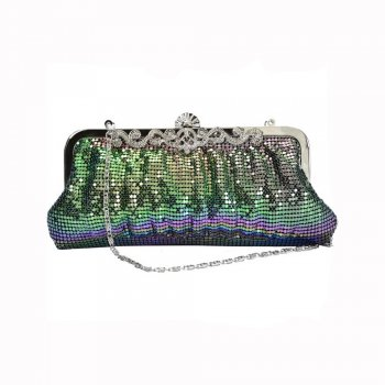 Faye London Peacock Chainmail Clutch Evening Bag with Intricate Diamante Clasp
