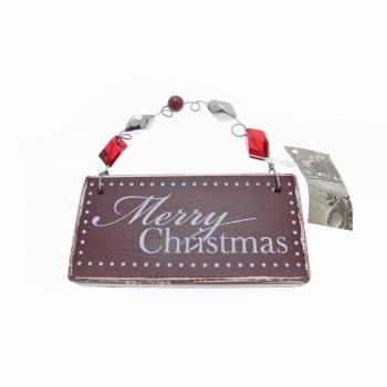 Heaven Sends Merry Christmas Beaded Wooden Christmas Tree Decoration