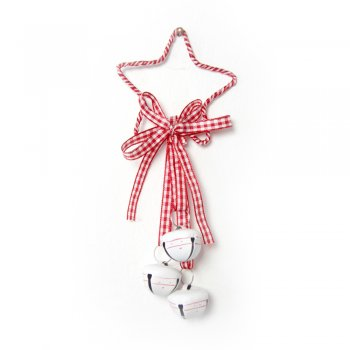Heaven Sends Gingham Ribbons & Bells Star Hanger