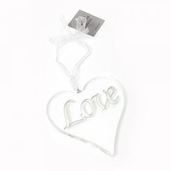 Gisela Graham Glass Love Hanging Heart