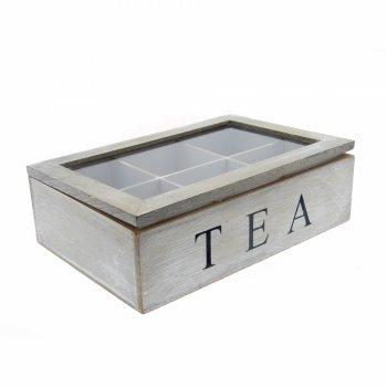 Shabby Chic Grey Wash Tea Bag Storage Box with Perspex Lid