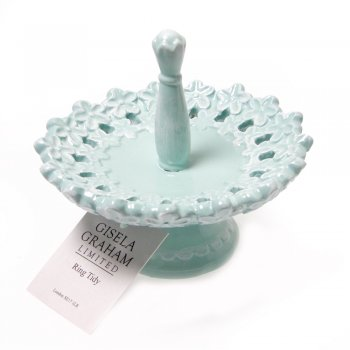 Gisela Graham Pale Turquoise Floral Ring Tidy
