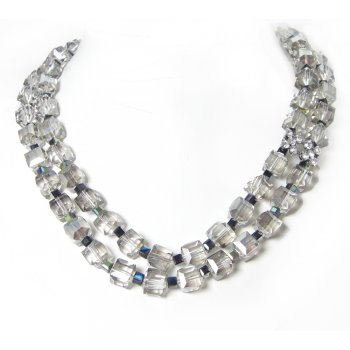 Rosie Fox Double Strand Vintage Smoky Cube Necklace