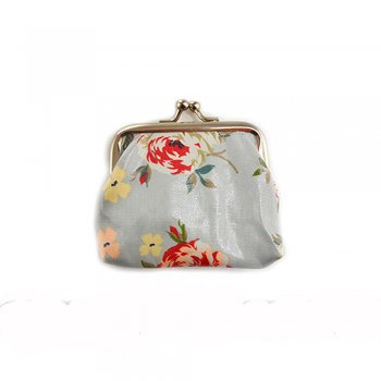 Jennifer Rose Powder Blue Vintage Floral Oilcloth Coin Purse