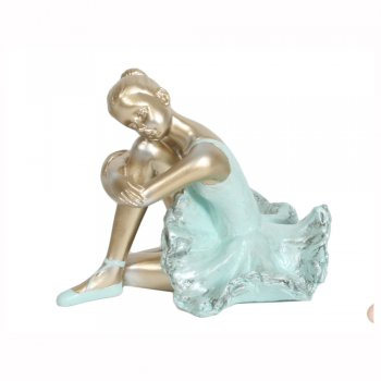 Sitting Ballerina in a Turquoise Blue Dress Figurine