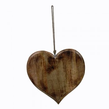 Extra Large Decorative Wooden Hanging Heart with Rope Hanger