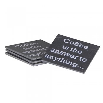 Heaven Sends Set of 4 Slate Coasters Coffee is the Answer to Anything...