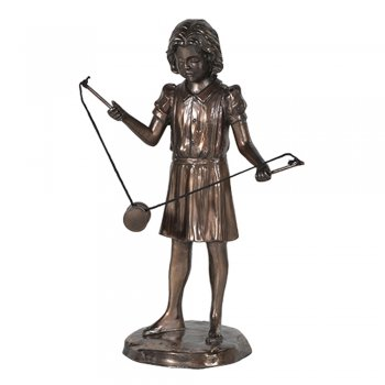 Bronze Effect Girl Playing with a Diabolo Figure