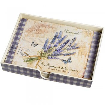 Set of 4 Lavender & Gingham Placemats in a holder